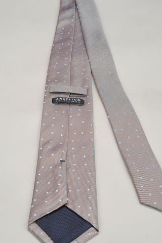 hazelnut tie with azure polka dots Angelico