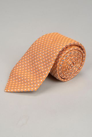 cravatta arancio microfantasia bianca-blu Angelico