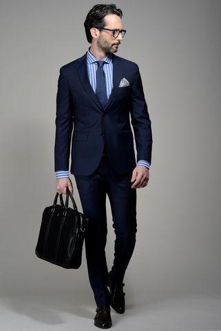 abito blu scuro slim 100s Angelico
