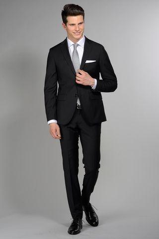 abito nero slim fresco di lana 100s Angelico