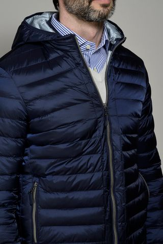 piumino blu 100gr cappuccio Angelico