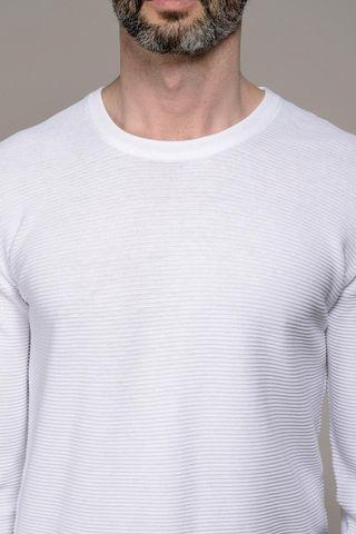 white crewneck pullover striped effect Angelico