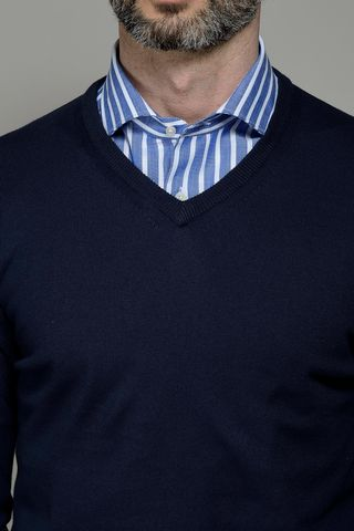 navy v neck cotton pullover Angelico