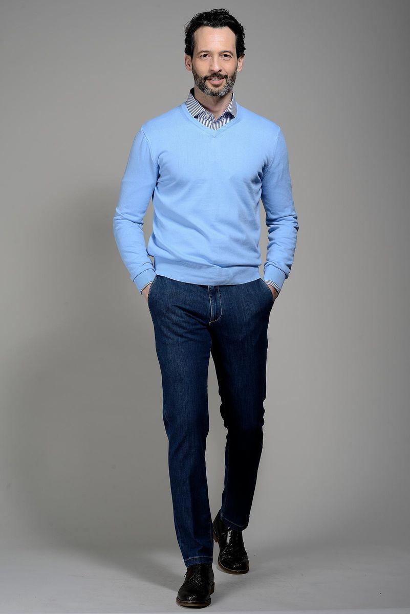 maglia azzurra v cotone Angelico