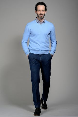 light blue v neck cotton pullover Angelico