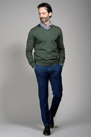 sage green v neck cotton pullover Angelico