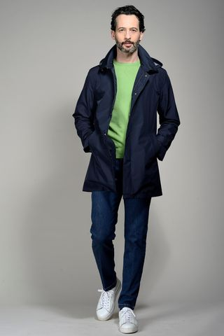 navy short hooded raincoat Angelico