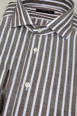 camicia tabacco rigata bianca slim Angelico