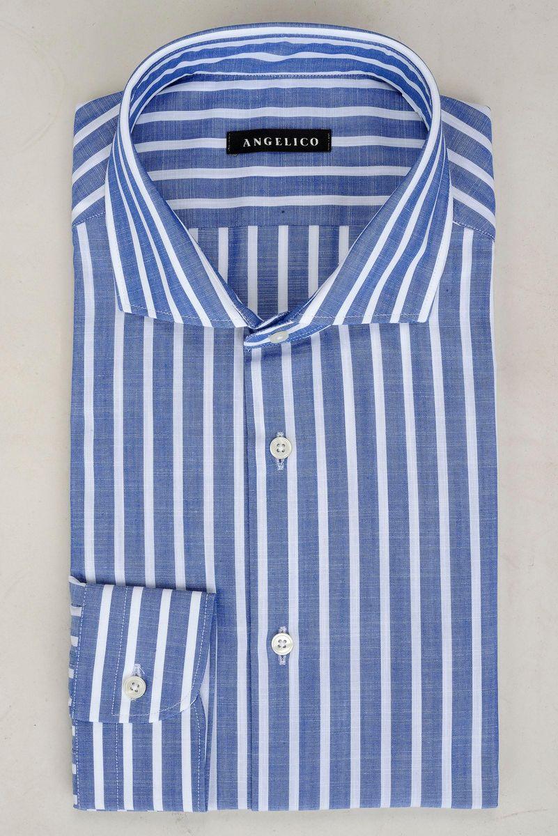 camicia bluette rigata bianca slim Angelico