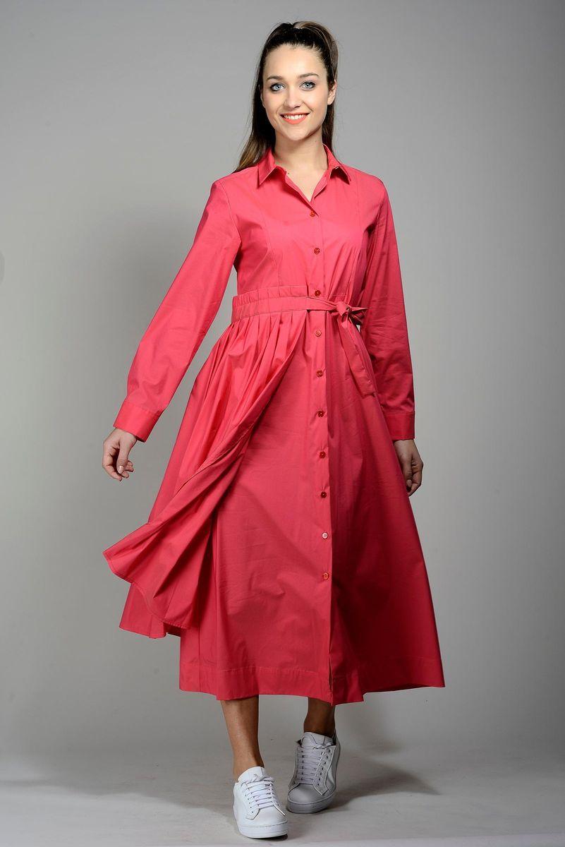 abito rosso lungo bottoni manica lunga Angelico