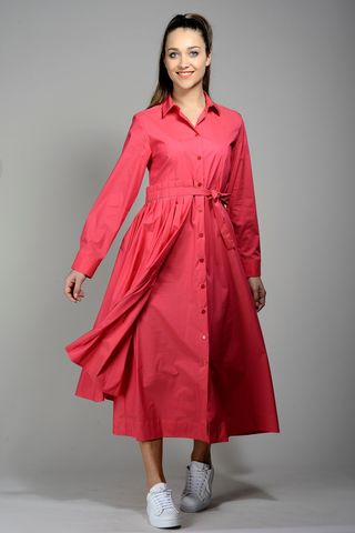 red long buttoned dress long sleeves Angelico