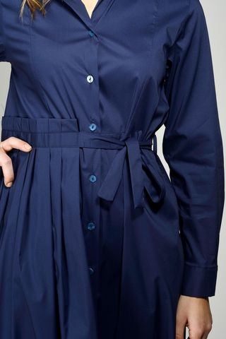 blue long buttoned dress long sleeves Angelico