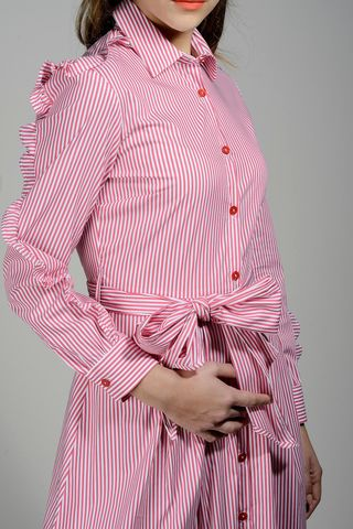 red long striped dress rouche long sleeves Angelico