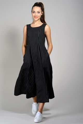 black flared dress sleeveless pinstriped Angelico