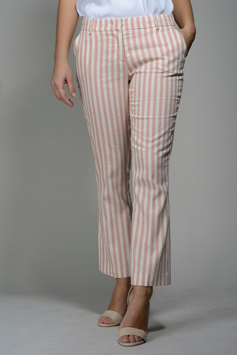 pink-white striped trumpet pants Angelico