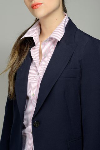 navy pants suit one button Angelico