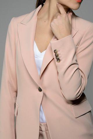 tailleur rosa pantalone risvolto Angelico