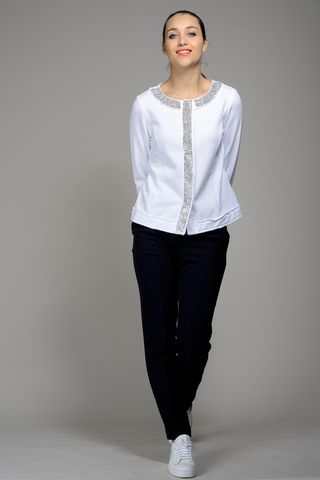giacca bianca felpa e strass Angelico