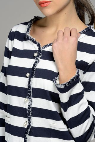 white-blue striped chanel jacket Angelico