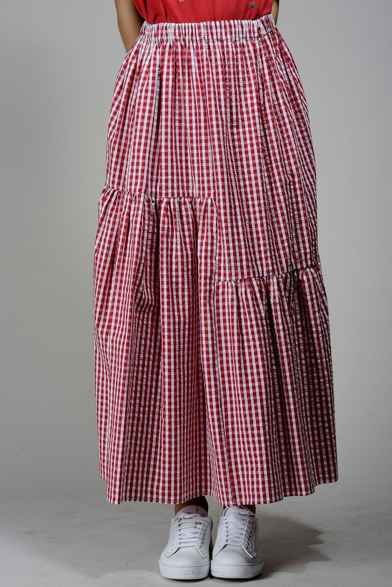 long red-white checkered skirt Angelico