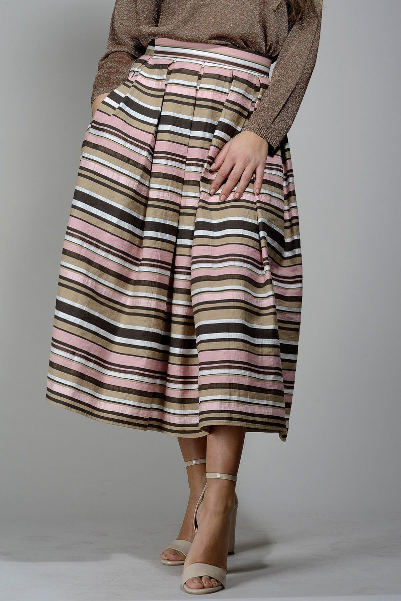 long skirt pink-brown stripes Angelico