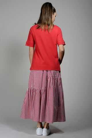 red fleece t-shirt with strass Angelico