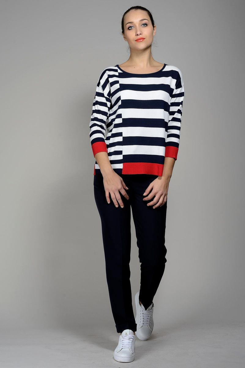 white-blue-red striped knitted with inserts Angelico