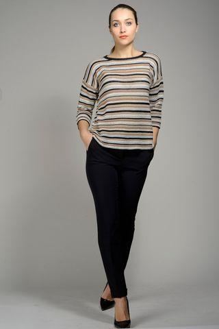 striped  tobacco-beige-lurex cotton sweater Angelico