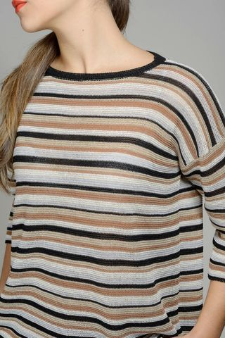 striped  tobacco-beige-lurex cotton sweater Angelico