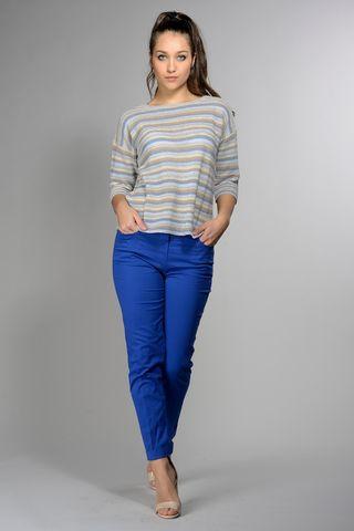 striped blue-beige-lurex cotton sweater Angelico