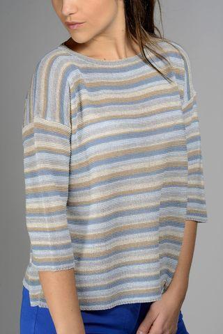 maglia azzurra-beige-lurex millerighe Angelico