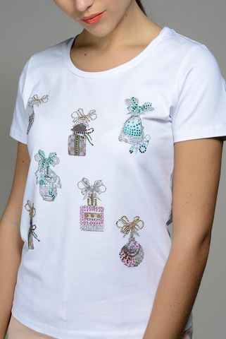 white t-shirt pink-green prints and strass Angelico