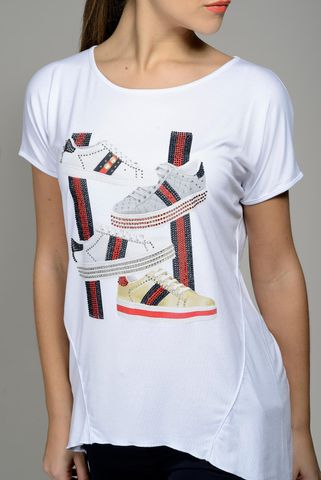 white t-shirt shoes print blue-red strass Angelico