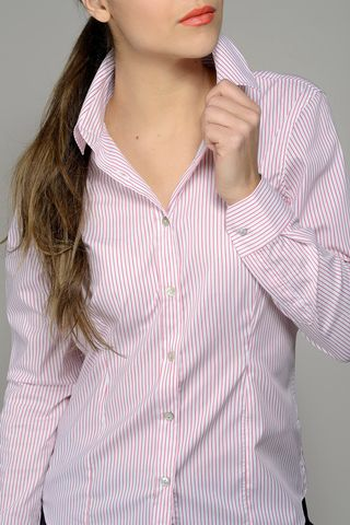 white-red stretch striped women shirt Angelico