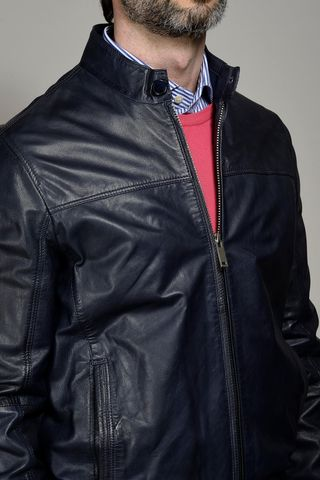 navy soft leather bomber Angelico