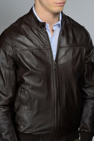 brown leather bomber Angelico