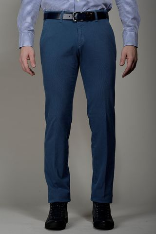 blue trousers structured cotton slim Angelico