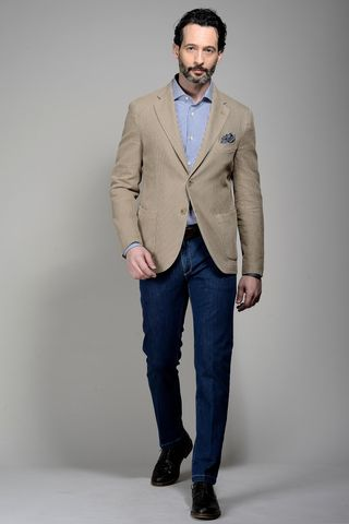 light brown jacket structured cotton-ramie Angelico