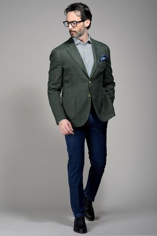 olive green jacket structured cotton-ramie Angelico