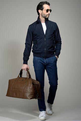 blue short nylon jacket Angelico