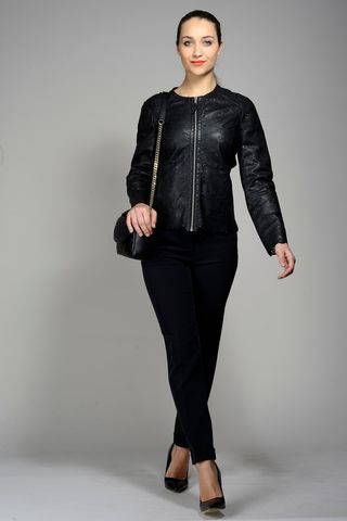 black perforated leather jacket Angelico