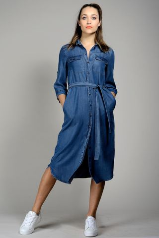 shirtdress midi jeans dress Angelico