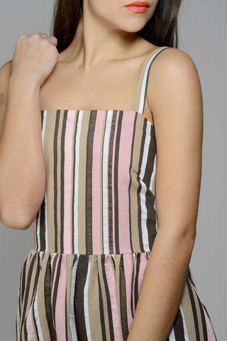 abito rigato rosa-marrone spallina Angelico