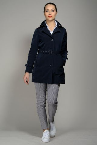 navy womens raincoat with belt Angelico
