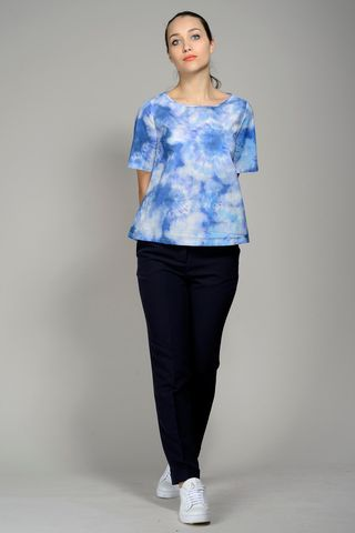 blue blouse flowered pattern short sleeves Angelico