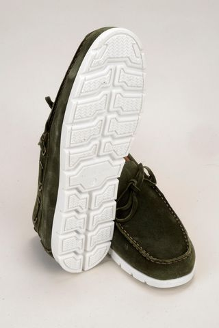 green suede moccasin white sole Angelico