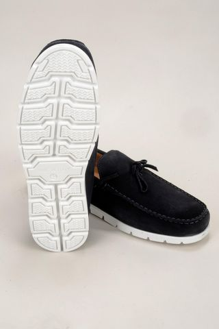 navy suede moccasin white sole Angelico