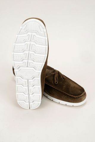 brown suede moccasin with white sole Angelico
