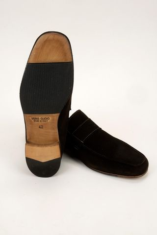 unlined brown suede moccasin Angelico