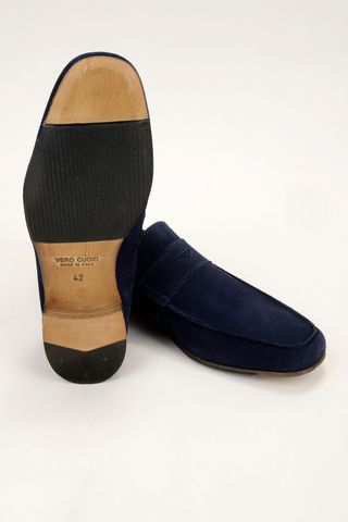 unlined blue suede moccasin Angelico